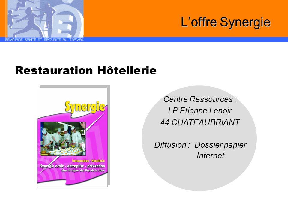 Restauration Hôtellerie Diffusion : Dossier papier Internet Centre Ressources : LP Etienne Lenoir 44 CHATEAUBRIANT Loffre Synergie