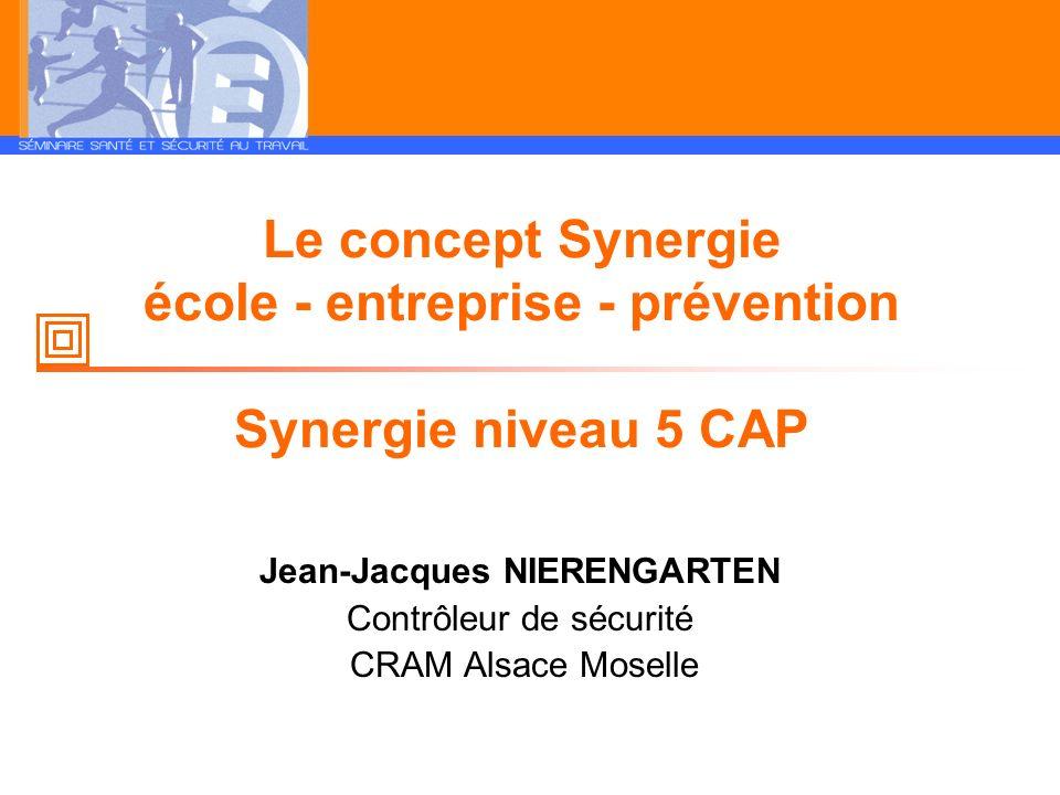 Le concept Synergie école - entreprise - prévention Synergie niveau 5 CAP Jean-Jacques NIERENGARTEN Contrôleur de sécurité CRAM Alsace Moselle
