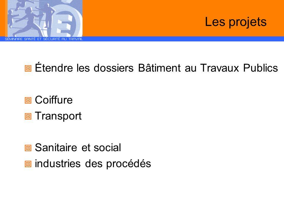 Les projets Étendre les dossiers Bâtiment au Travaux Publics Coiffure Transport Sanitaire et social industries des procédés