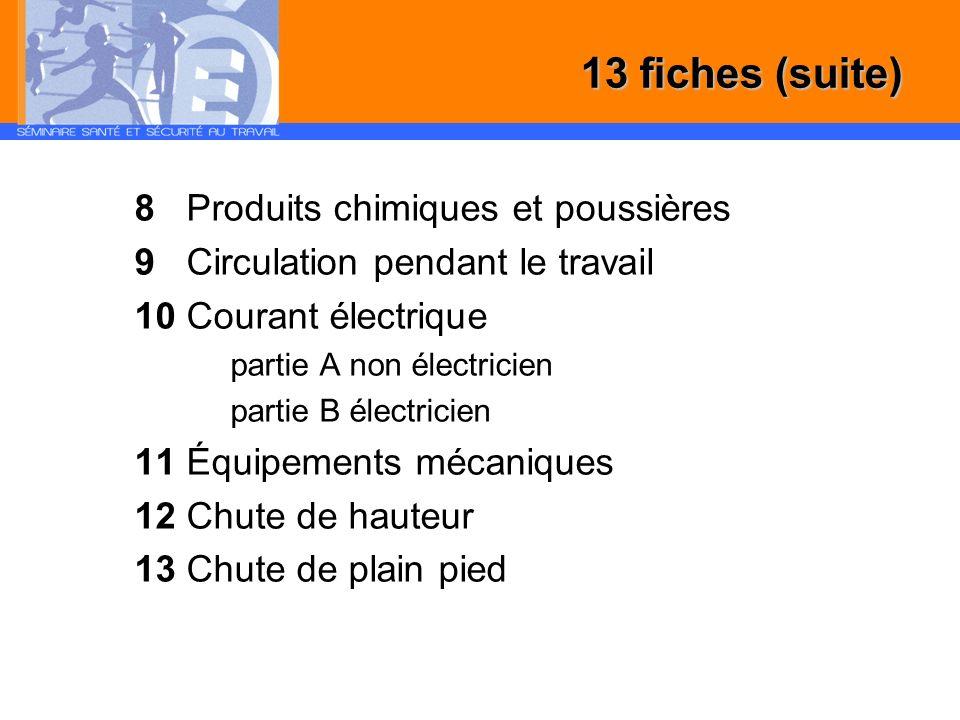 8 Produits chimiques et poussières 9 Circulation pendant le travail 10 Courant électrique partie A non électricien partie B électricien 11 Équipements