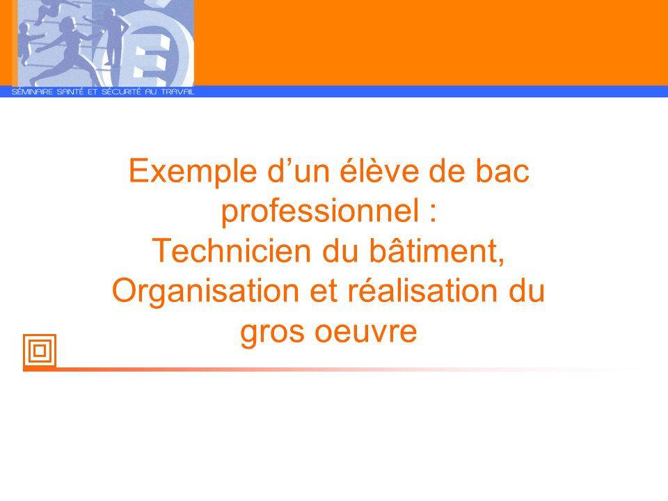 Exemple dun élève de bac professionnel : Technicien du bâtiment, Organisation et réalisation du gros oeuvre
