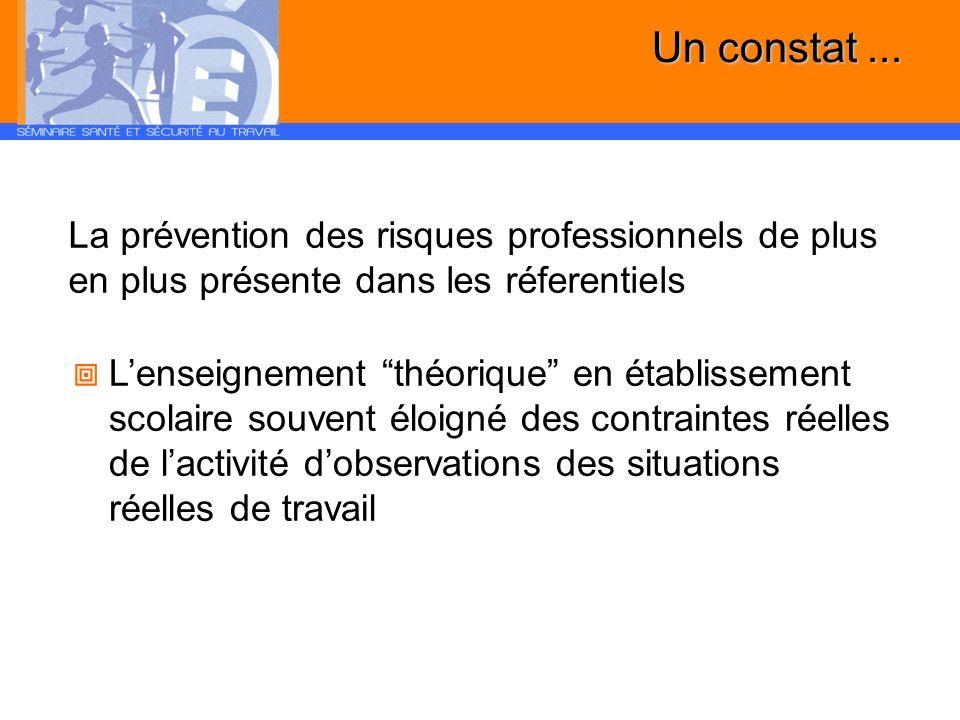 Un constat... La prévention des risques professionnels de plus en plus présente dans les réferentiels Lenseignement théorique en établissement scolair