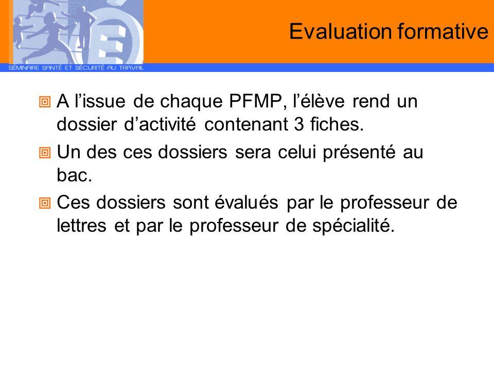 Evaluation formative A lissue de chaque PFMP, lélève rend un dossier dactivité contenant 3 fiches. Un des ces dossiers sera celui présenté au bac. Ces
