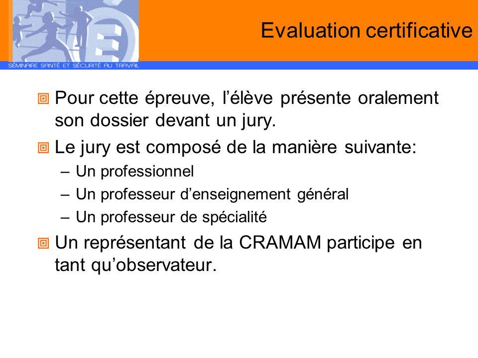 Evaluation certificative Pour cette épreuve, lélève présente oralement son dossier devant un jury. Le jury est composé de la manière suivante: –Un pro