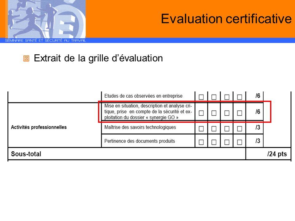 Evaluation certificative Extrait de la grille dévaluation