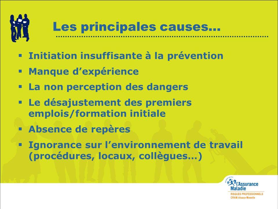 Les principales causes… Initiation insuffisante à la prévention Manque dexpérience La non perception des dangers Le désajustement des premiers emplois