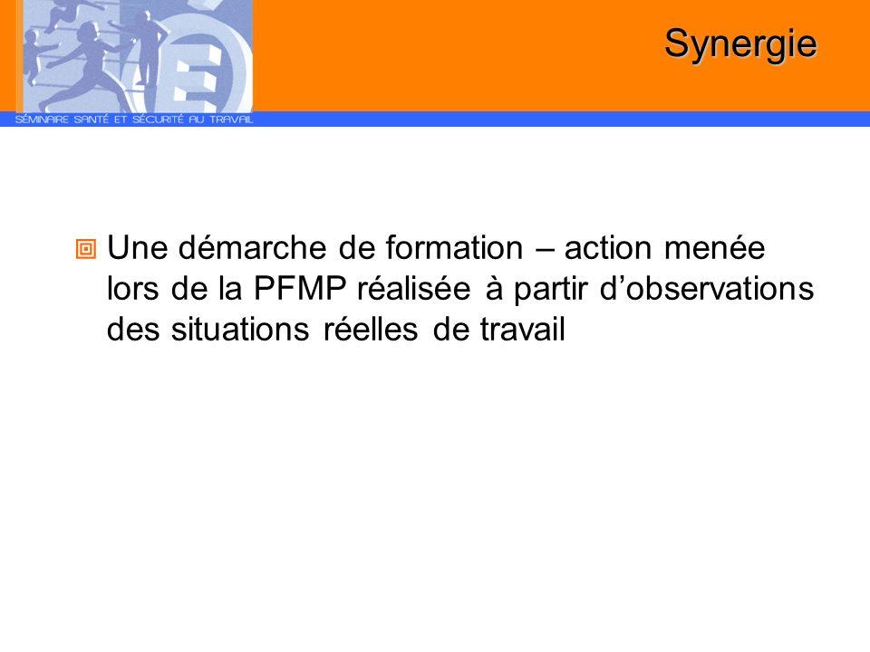 Synergie Une démarche de formation – action menée lors de la PFMP réalisée à partir dobservations des situations réelles de travail