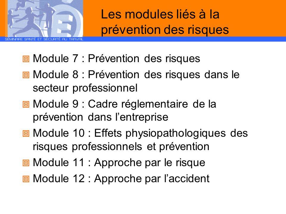 Les modules liés à la prévention des risques Module 7 : Prévention des risques Module 8 : Prévention des risques dans le secteur professionnel Module