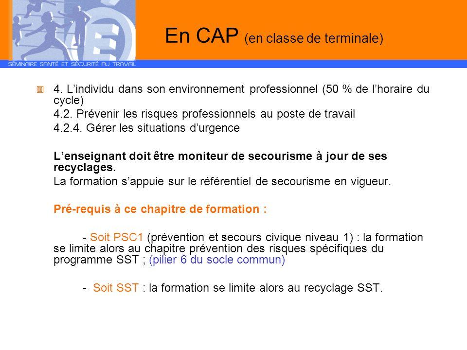 En CAP (en classe de terminale) 4. Lindividu dans son environnement professionnel (50 % de lhoraire du cycle) 4.2. Prévenir les risques professionnels