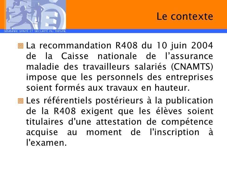 Le contexte La recommandation R408 du 10 juin 2004 de la Caisse nationale de lassurance maladie des travailleurs salariés (CNAMTS) impose que les pers