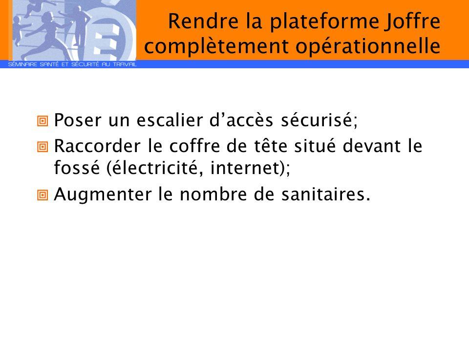 Rendre la plateforme Joffre complètement opérationnelle Poser un escalier daccès sécurisé; Raccorder le coffre de tête situé devant le fossé (électric