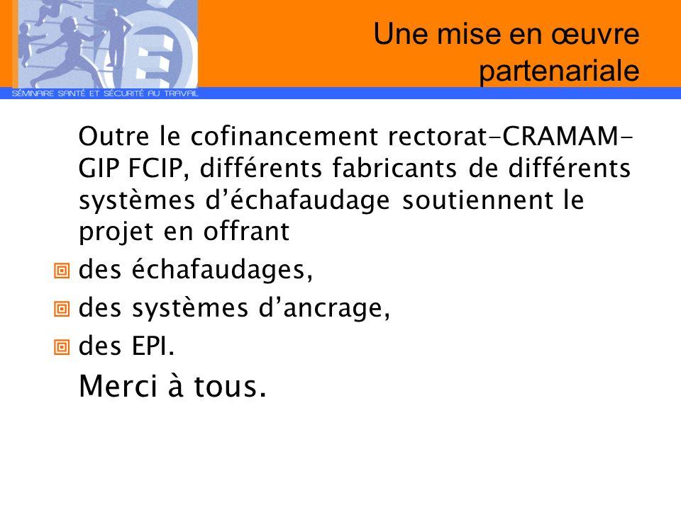 Une mise en œuvre partenariale Outre le cofinancement rectorat-CRAMAM- GIP FCIP, différents fabricants de différents systèmes déchafaudage soutiennent