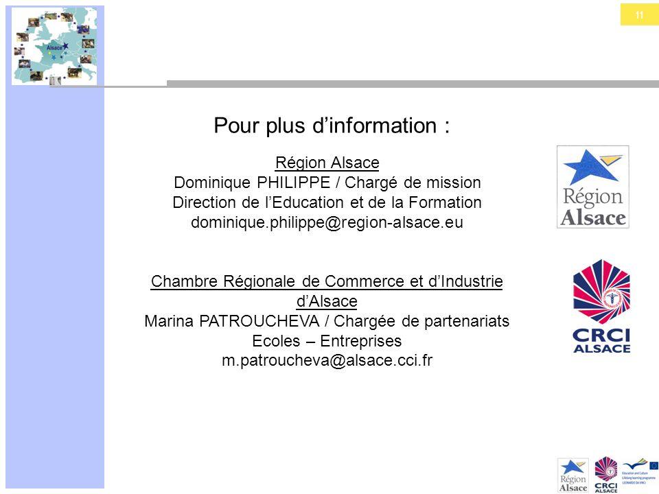 11 Pour plus dinformation : Région Alsace Dominique PHILIPPE / Chargé de mission Direction de lEducation et de la Formation dominique.philippe@region-
