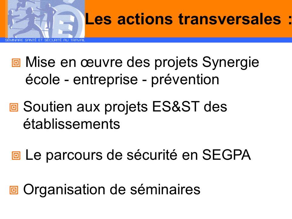 Les actions transversales : Mise en œuvre des projets Synergie école - entreprise - prévention Soutien aux projets ES&ST des établissements Le parcour
