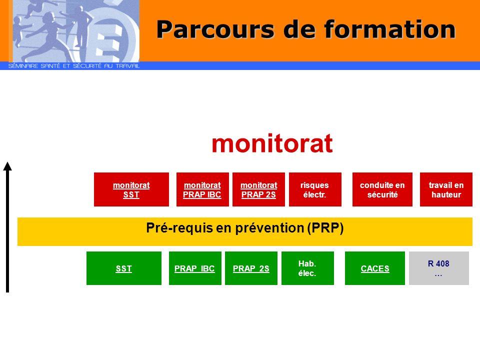 Pré-requis en prévention (PRP) monitorat SST monitorat PRAP IBC monitorat PRAP 2S risques électr. conduite en sécurité travail en hauteur SSTPRAP IBC