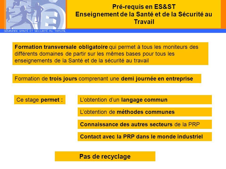 Pré-requis en ES&ST Enseignement de la Santé et de la Sécurité au Travail Formation transversale obligatoire qui permet à tous les moniteurs des diffé