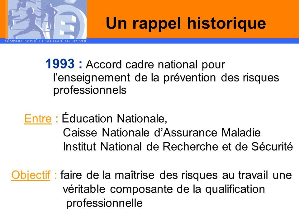 Un rappel historique 1993 : Accord cadre national pour lenseignement de la prévention des risques professionnels Entre : Éducation Nationale, Caisse N