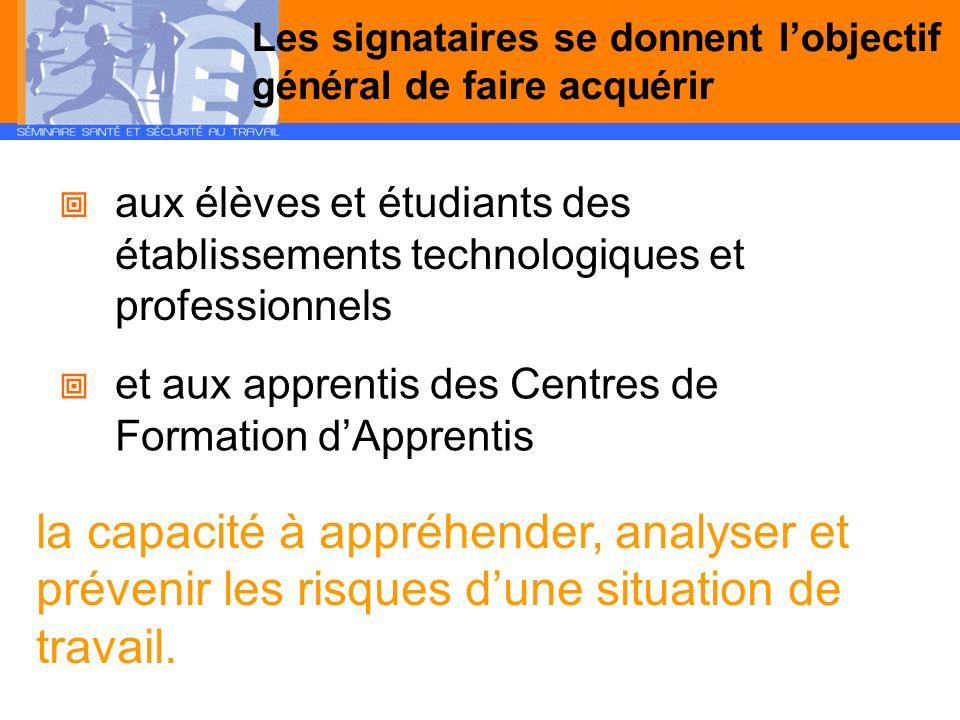 Les signataires se donnent lobjectif général de faire acquérir aux élèves et étudiants des établissements technologiques et professionnels et aux appr