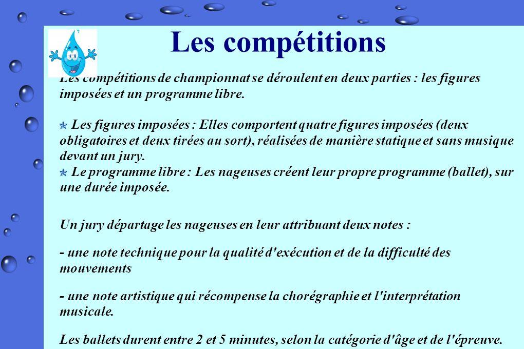 Les compétitions Les compétitions de championnat se déroulent en deux parties : les figures imposées et un programme libre. Les figures imposées : Ell