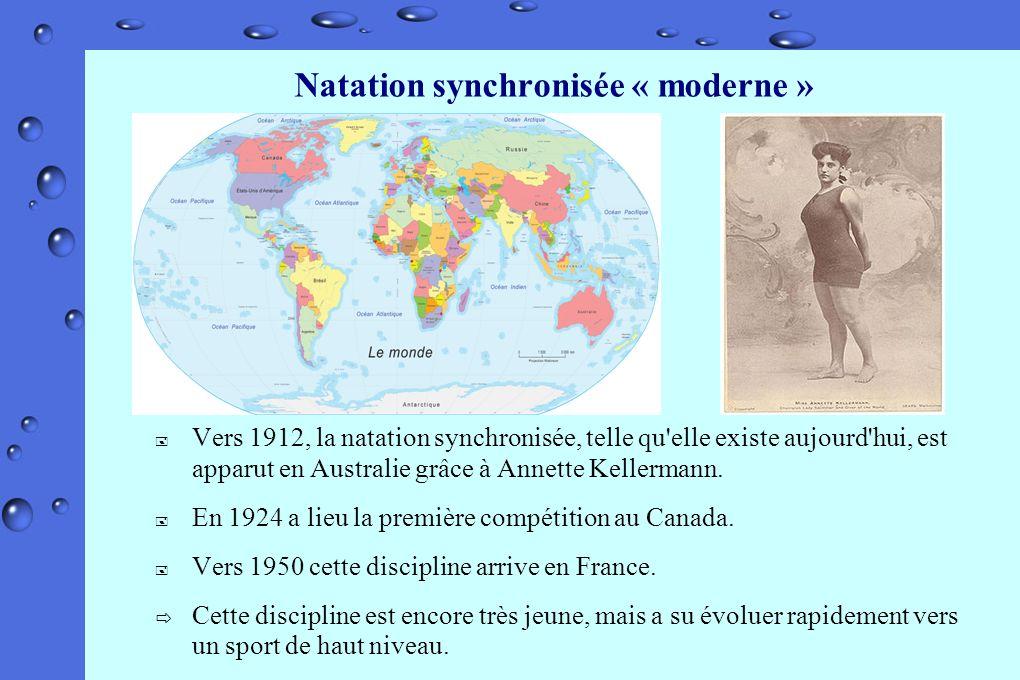Natation synchronisée « moderne » Vers 1912, la natation synchronisée, telle qu'elle existe aujourd'hui, est apparut en Australie grâce à Annette Kell