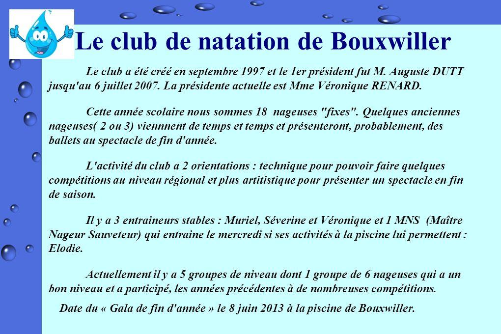 Le club de natation de Bouxwiller Le club a été créé en septembre 1997 et le 1er président fut M. Auguste DUTT jusqu'au 6 juillet 2007. La présidente