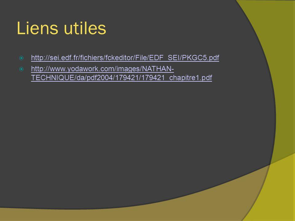 Liens utiles http://sei.edf.fr/fichiers/fckeditor/File/EDF_SEI/PKGC5.pdf http://www.yodawork.com/images/NATHAN- TECHNIQUE/da/pdf2004/179421/179421_chapitre1.pdf http://www.yodawork.com/images/NATHAN- TECHNIQUE/da/pdf2004/179421/179421_chapitre1.pdf