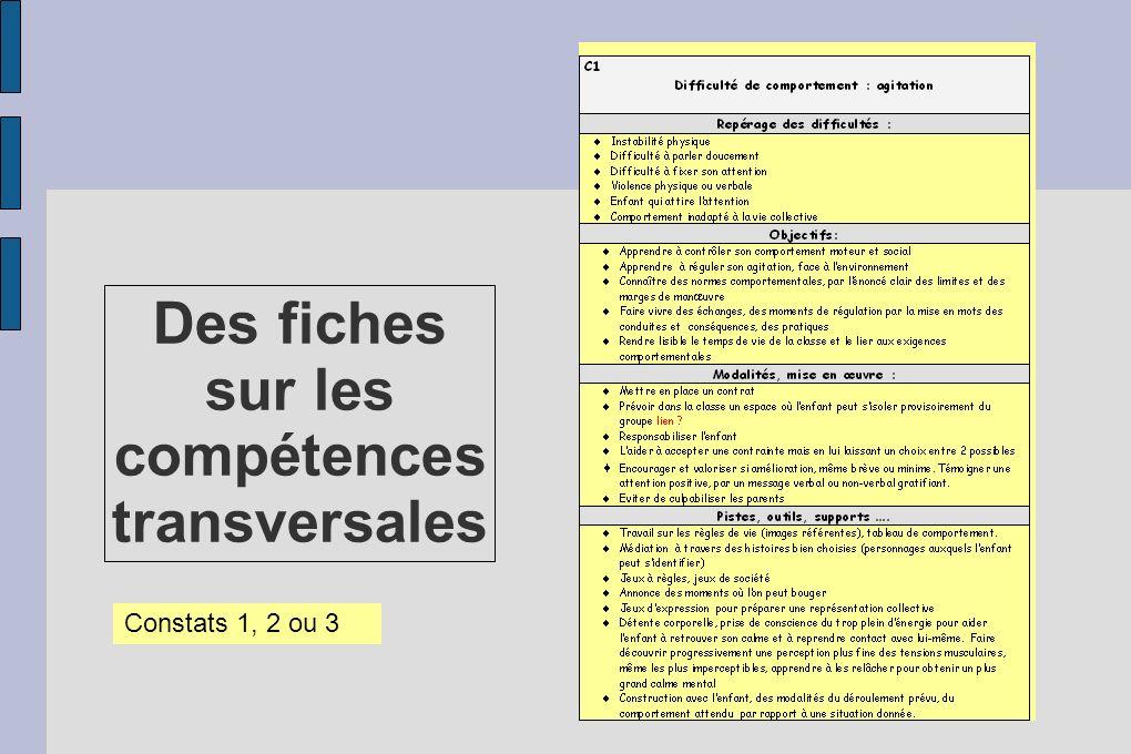 Des fiches sur les compétences transversales Constats 1, 2 ou 3