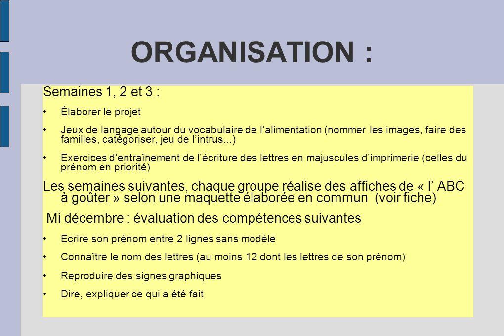 ORGANISATION : Semaines 1, 2 et 3 : Élaborer le projet Jeux de langage autour du vocabulaire de lalimentation (nommer les images, faire des familles,
