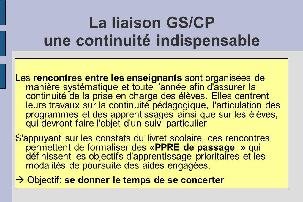 La liaison GS/CP une continuité indispensable Les rencontres entre les enseignants sont organisées de manière systématique et toute lannée afin d'assu
