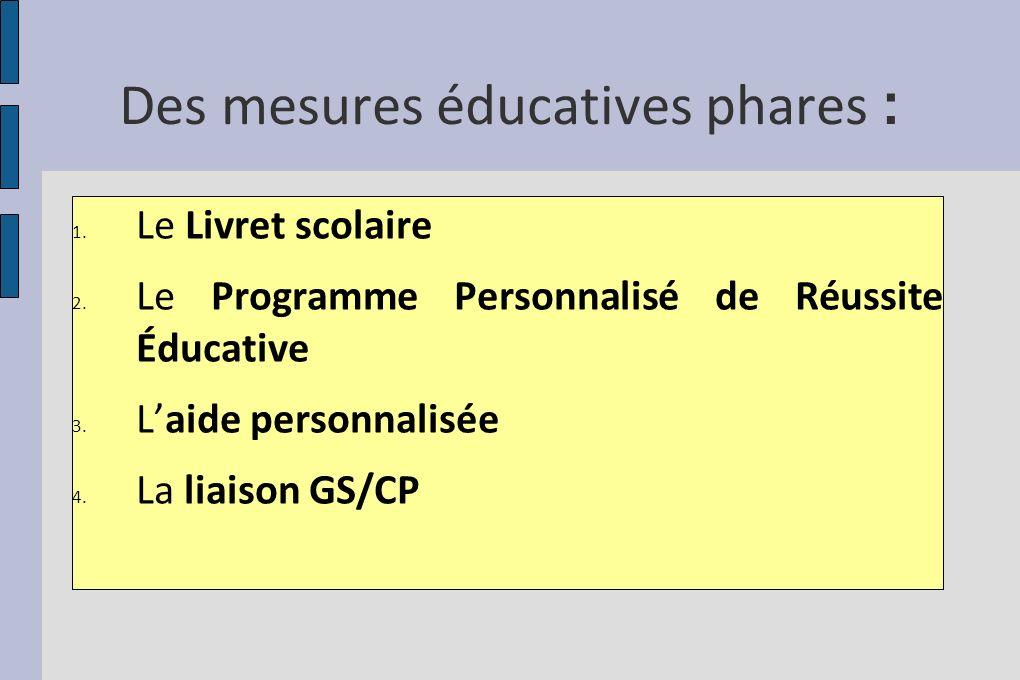 Des mesures éducatives phares : 1. Le Livret scolaire 2. Le Programme Personnalisé de Réussite Éducative 3. Laide personnalisée 4. La liaison GS/CP