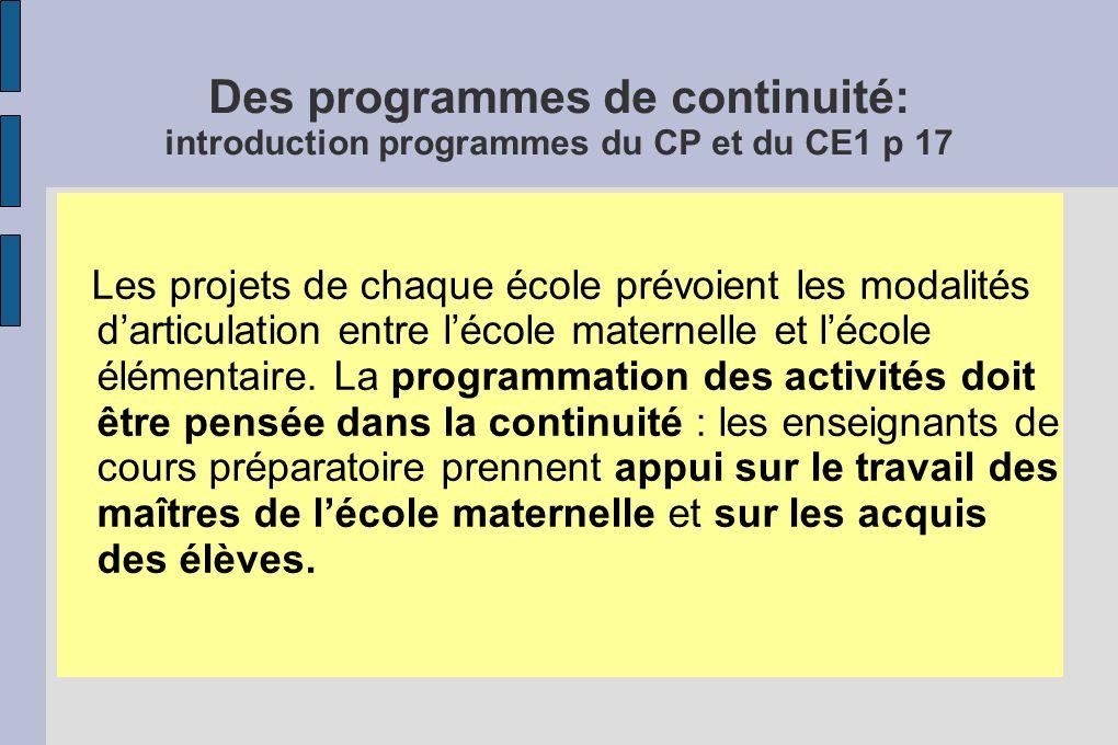 Des programmes de continuité: introduction programmes du CP et du CE1 p 17 Les projets de chaque école prévoient les modalités darticulation entre léc