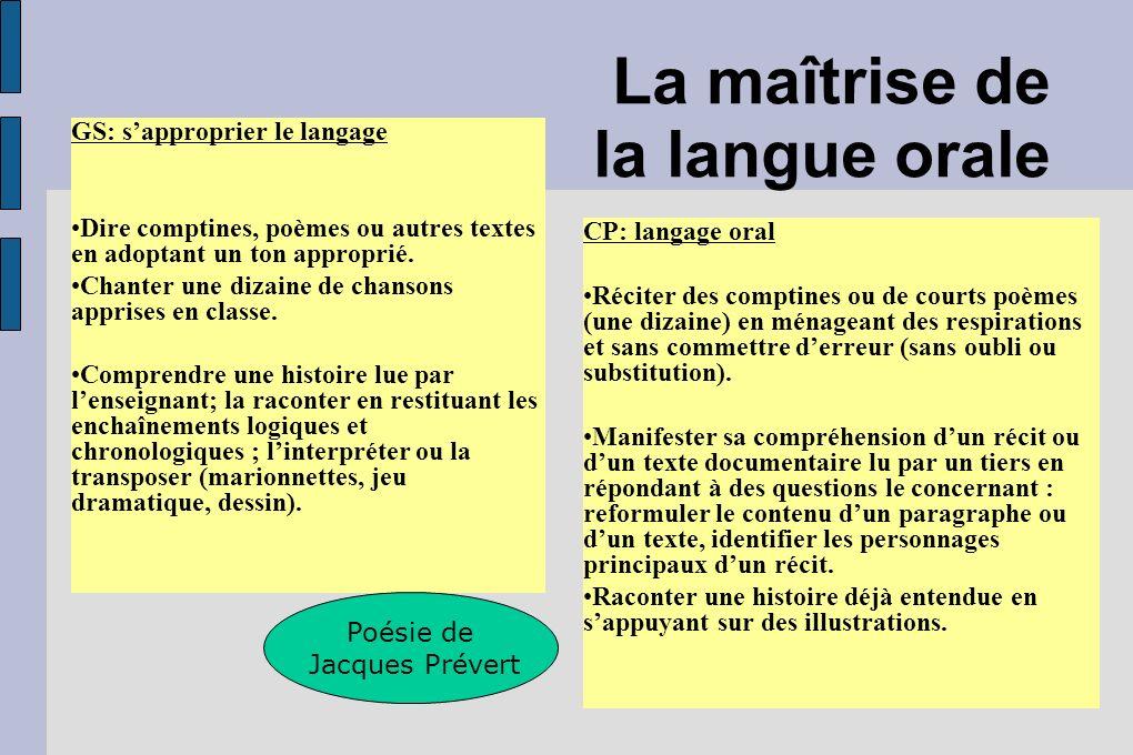 La maîtrise de la langue orale GS: sapproprier le langage Dire comptines, poèmes ou autres textes en adoptant un ton approprié. Chanter une dizaine de