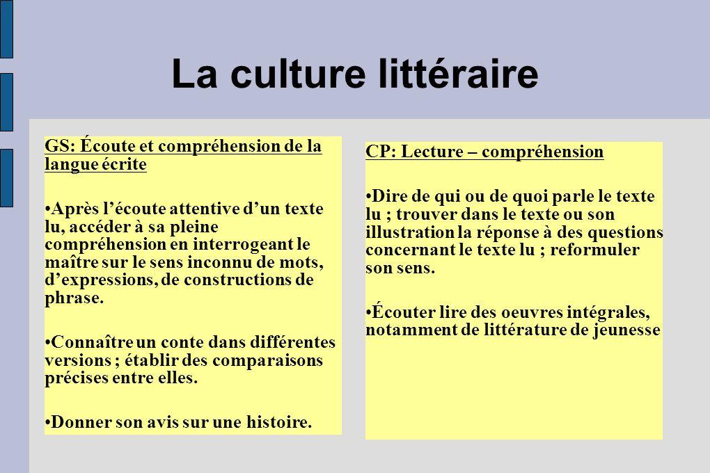 La culture littéraire GS: Écoute et compréhension de la langue écrite Après lécoute attentive dun texte lu, accéder à sa pleine compréhension en inter