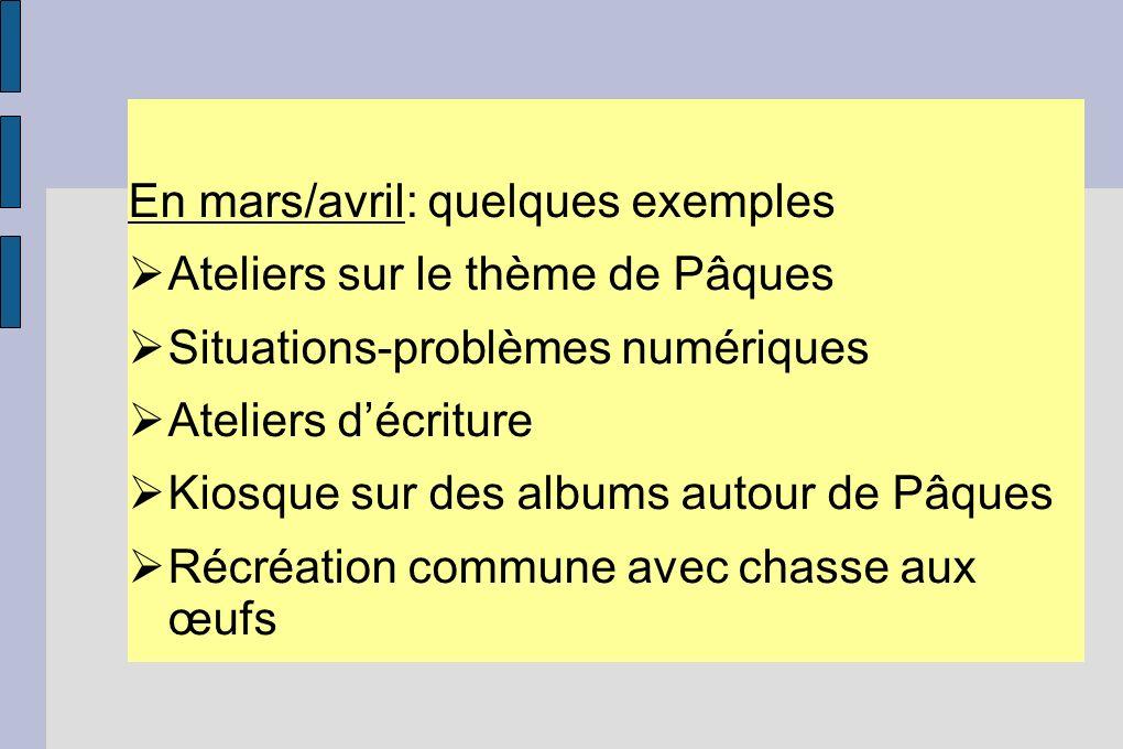 En mars/avril: quelques exemples Ateliers sur le thème de Pâques Situations-problèmes numériques Ateliers décriture Kiosque sur des albums autour de P