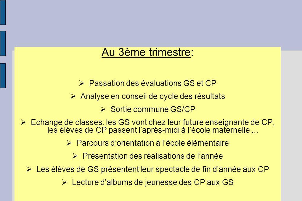 Au 3ème trimestre: Passation des évaluations GS et CP Analyse en conseil de cycle des résultats Sortie commune GS/CP Echange de classes: les GS vont c