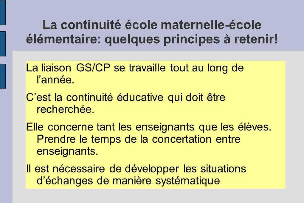 La continuité école maternelle-école élémentaire: quelques principes à retenir! La liaison GS/CP se travaille tout au long de lannée. Cest la continui