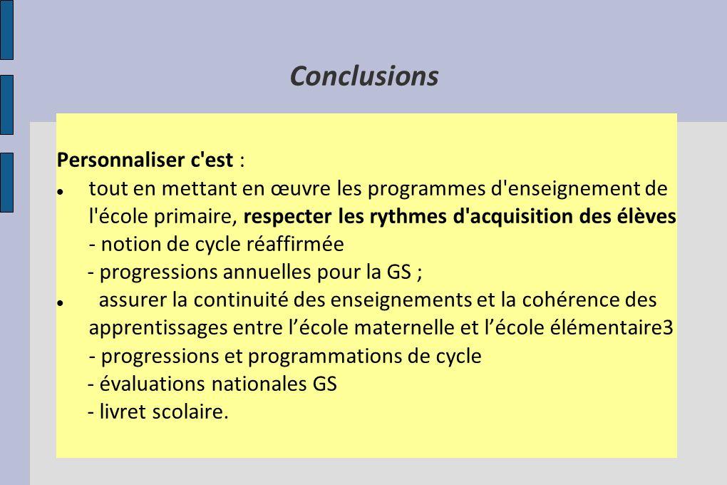 Conclusions Personnaliser c'est : tout en mettant en œuvre les programmes d'enseignement de l'école primaire, respecter les rythmes d'acquisition des