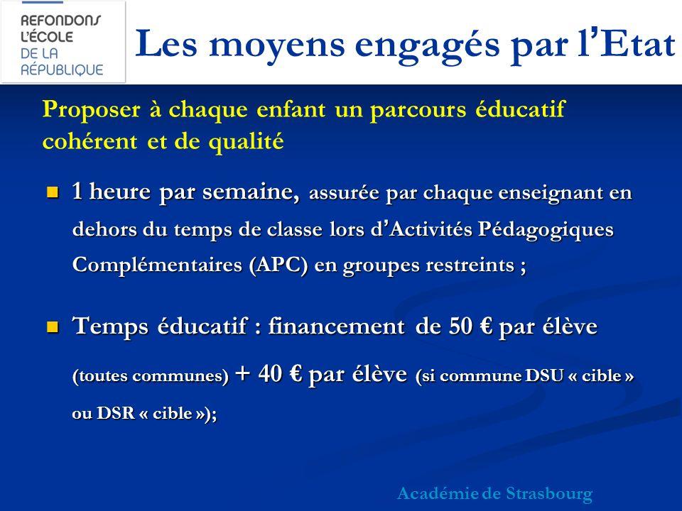 Les moyens engagés par lEtat 1 heure par semaine, assurée par chaque enseignant en dehors du temps de classe lors dActivités Pédagogiques Complémentaires (APC) en groupes restreints ; 1 heure par semaine, assurée par chaque enseignant en dehors du temps de classe lors dActivités Pédagogiques Complémentaires (APC) en groupes restreints ; Temps éducatif : financement de 50 par élève (toutes communes) + 40 par élève (si commune DSU « cible » ou DSR « cible »); Temps éducatif : financement de 50 par élève (toutes communes) + 40 par élève (si commune DSU « cible » ou DSR « cible »); Académie de Strasbourg Proposer à chaque enfant un parcours éducatif cohérent et de qualité