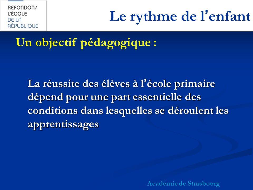 Le rythme de lenfant diminution de la journée scolaire diminution de la journée scolaire (en France, la journée la plus longue au monde); réorganisation des temps pédagogiques réorganisation des temps pédagogiques (réceptivité optimale entre 9:00 et 11:00 / 11:30 et entre 14:00 / 14:30 et 16:00); Académie de Strasbourg Préconisations des chronobiologistes