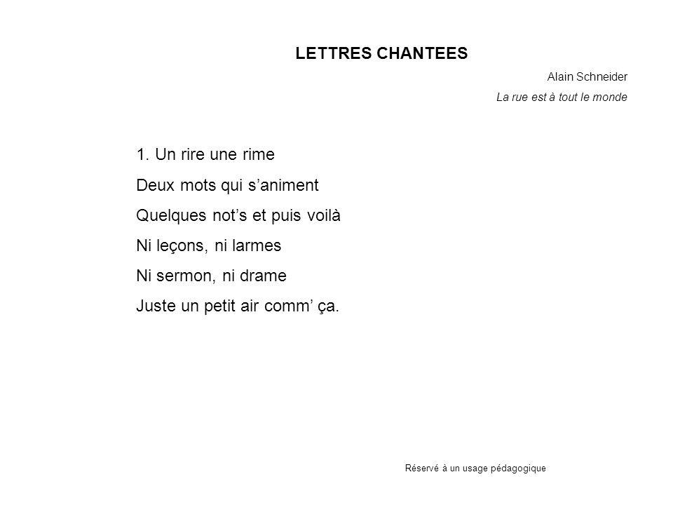 Réservé à un usage pédagogique LETTRES CHANTEES Alain Schneider La rue est à tout le monde 1.