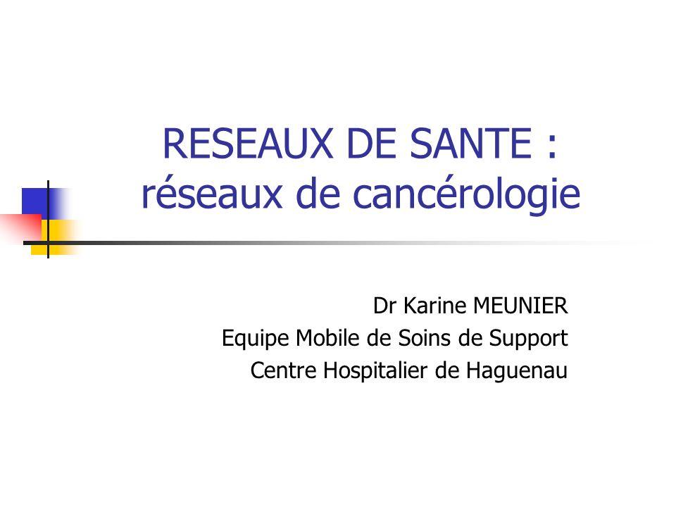 RESEAUX DE SANTE : réseaux de cancérologie Dr Karine MEUNIER Equipe Mobile de Soins de Support Centre Hospitalier de Haguenau