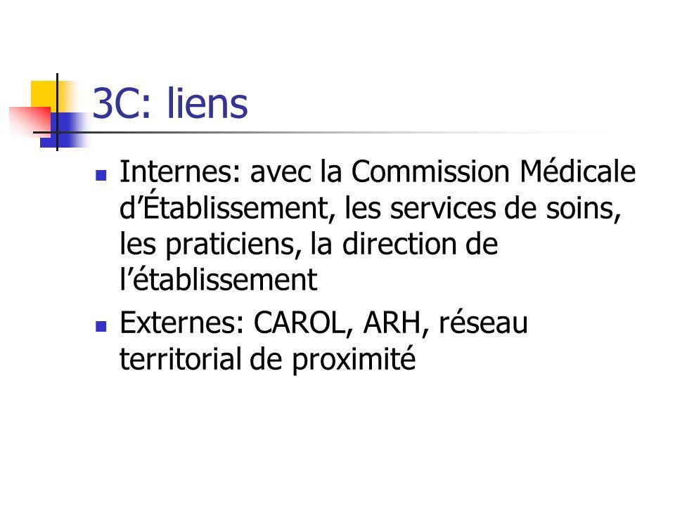 3C: liens Internes: avec la Commission Médicale dÉtablissement, les services de soins, les praticiens, la direction de létablissement Externes: CAROL,