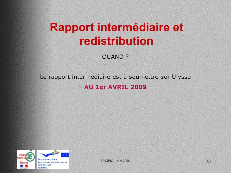DAREIC – mai 2008 31 Rapport intermédiaire et redistribution Le rapport intermédiaire est à soumettre sur Ulysse AU 1er AVRIL 2009 QUAND