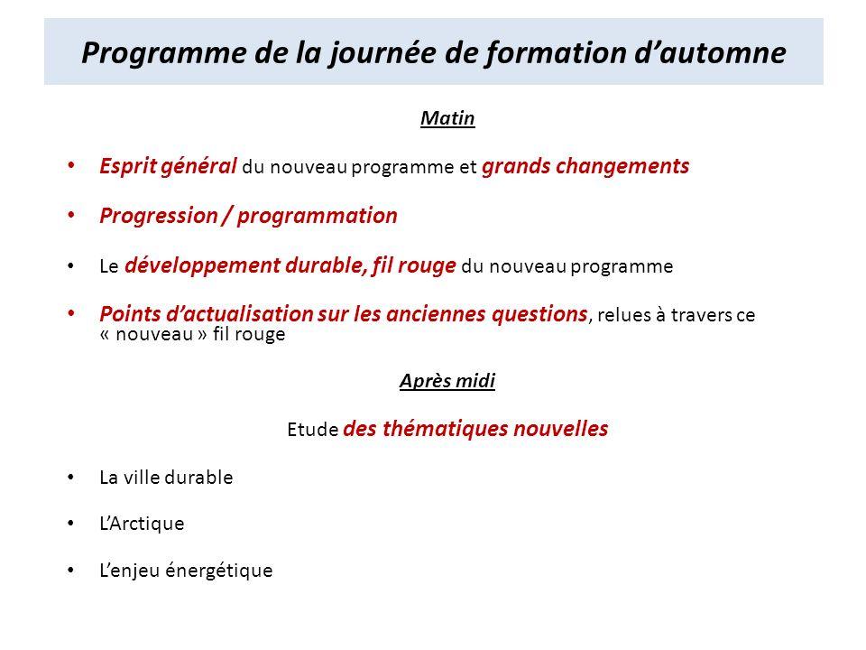 Matin Esprit général du nouveau programme et grands changements Progression / programmation Le développement durable, fil rouge du nouveau programme P