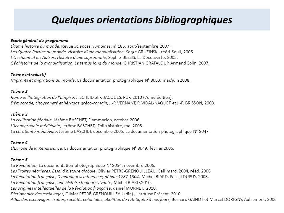 Quelques orientations bibliographiques Esprit général du programme Lautre histoire du monde, Revue Sciences Humaines, n° 185, aout/septembre 2007.