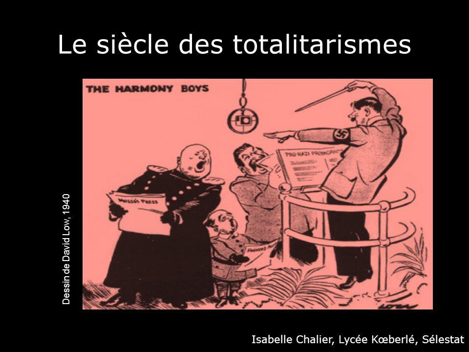 Daprès le BO n°9 du 30 septembre 2010 Question Genèse et affirmation des régimes totalitaires (soviétique, nazi et fasciste) Mise en œuvre Les régimes totalitaires dans lentre-deux-guerres : genèse, points communs et spécificités Les totalitarismes face aux démocraties dans les années 1930 Question La fin des totalitarismes Mise en œuvre La dénazification de lAllemagne et le procès de Nuremberg La sortie progressive du totalitarisme en URSS : Khrouchtchev, la déstalinisation et ses limites ; Gorbatchev, de la Glasnost à la disparition de lURSS