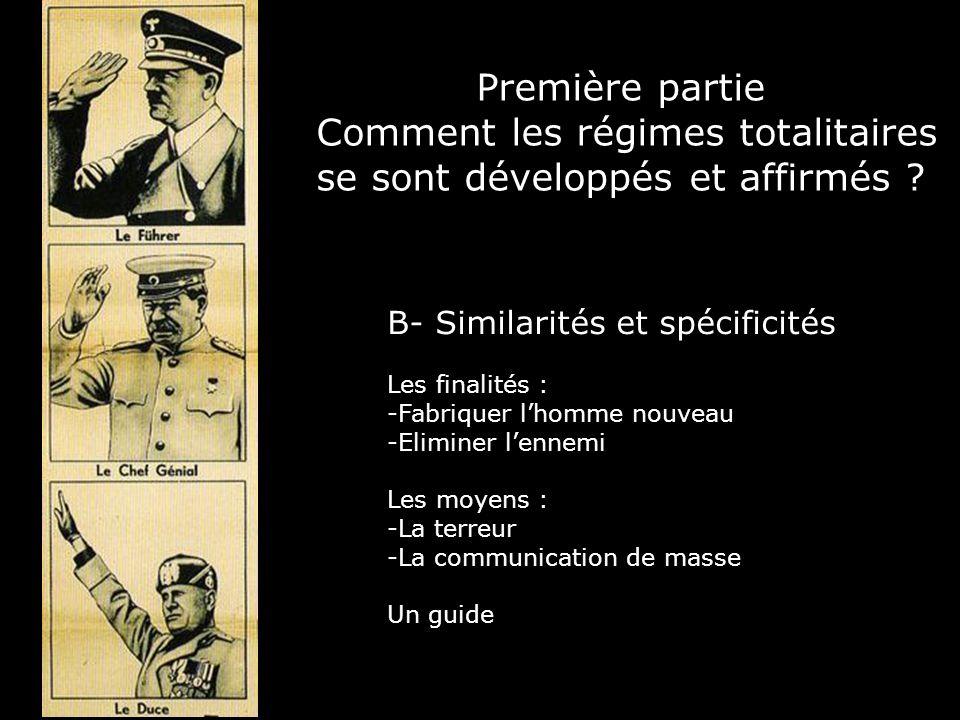 Première partie Comment les régimes totalitaires se sont développés et affirmés ? B- Similarités et spécificités Les finalités : -Fabriquer lhomme nou