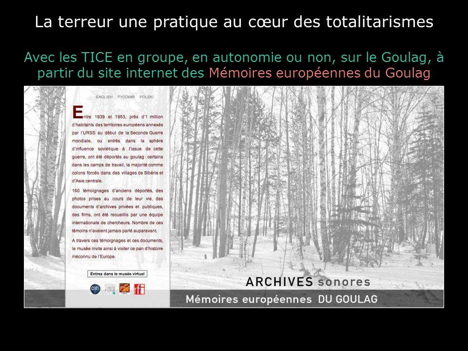La terreur une pratique au cœur des totalitarismes Avec les TICE en groupe, en autonomie ou non, sur le Goulag, à partir du site internet des Mémoires