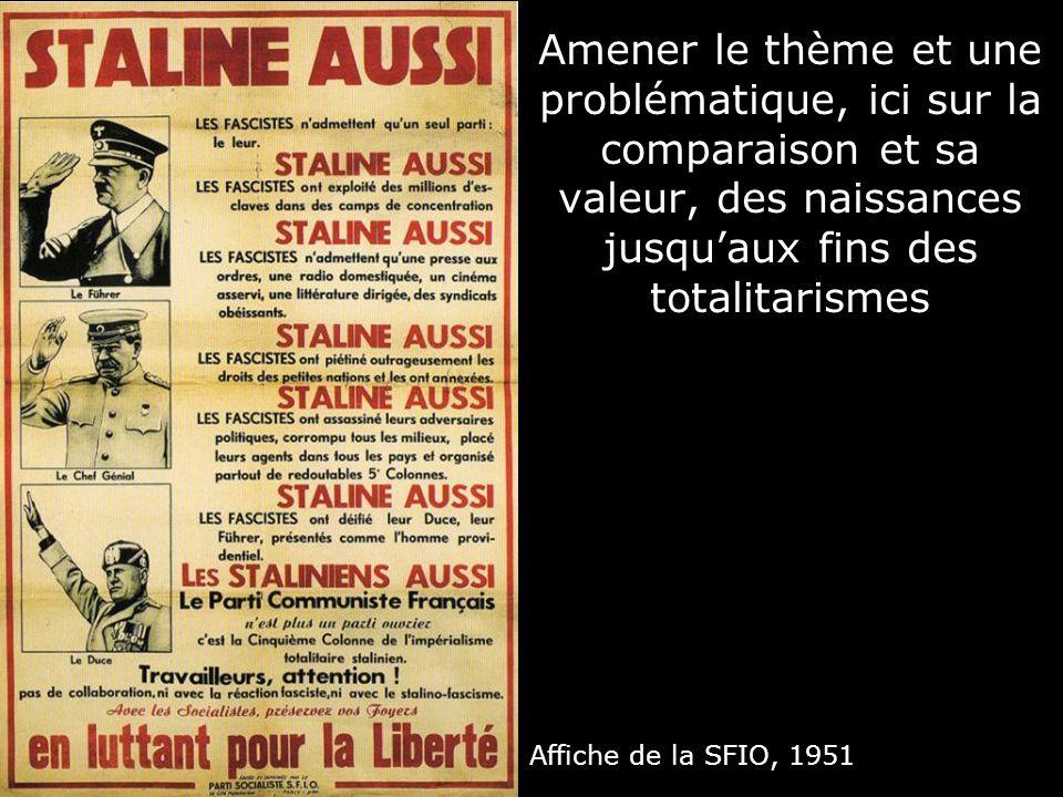 Affiche de la SFIO, 1951 Amener le thème et une problématique, ici sur la comparaison et sa valeur, des naissances jusquaux fins des totalitarismes