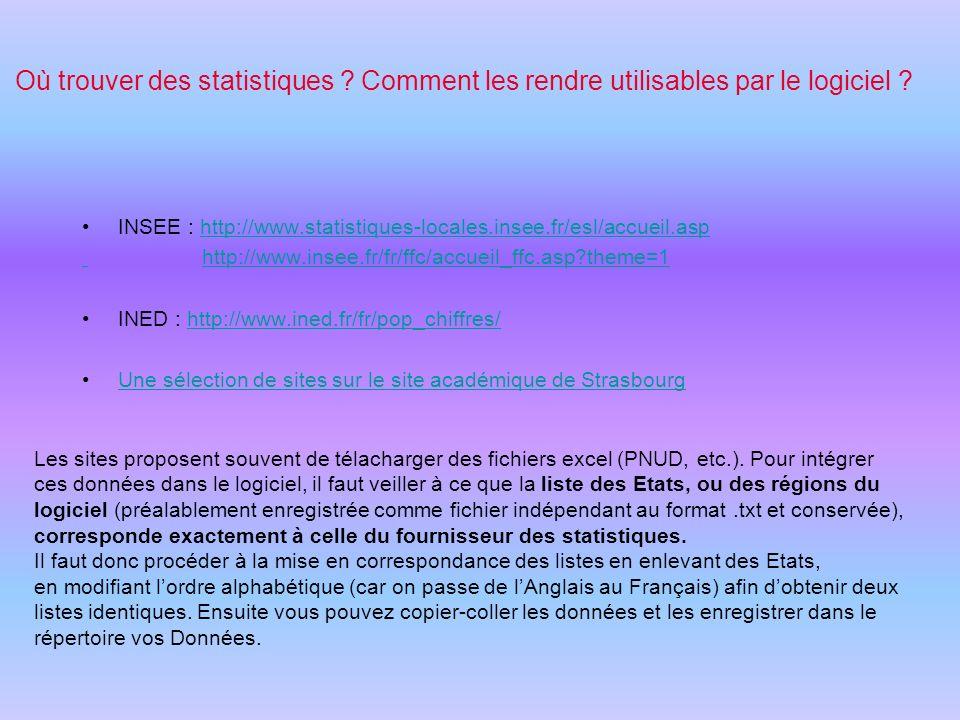 Où trouver des statistiques ? Comment les rendre utilisables par le logiciel ? INSEE : http://www.statistiques-locales.insee.fr/esl/accueil.asphttp://
